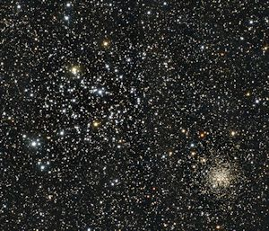 M35 is the large loose cluster on the left, and NGC 2158 is the smaller tighter cluster on the right.