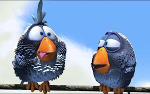 Snarky birds, not angry.