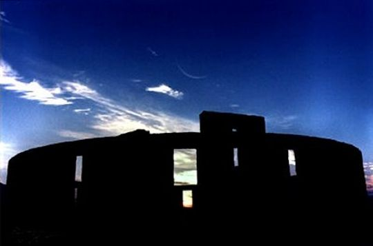 Stonehenge and Crescent Moon at Maryhill, WA. Photo by RL.Dietz