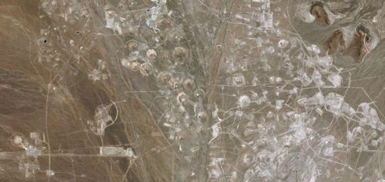 A Google Earth shot of the Tonopah Test Range, a restricted area.