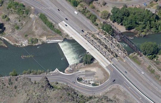 The Naches River check dam, next to Nelson's Bridge.